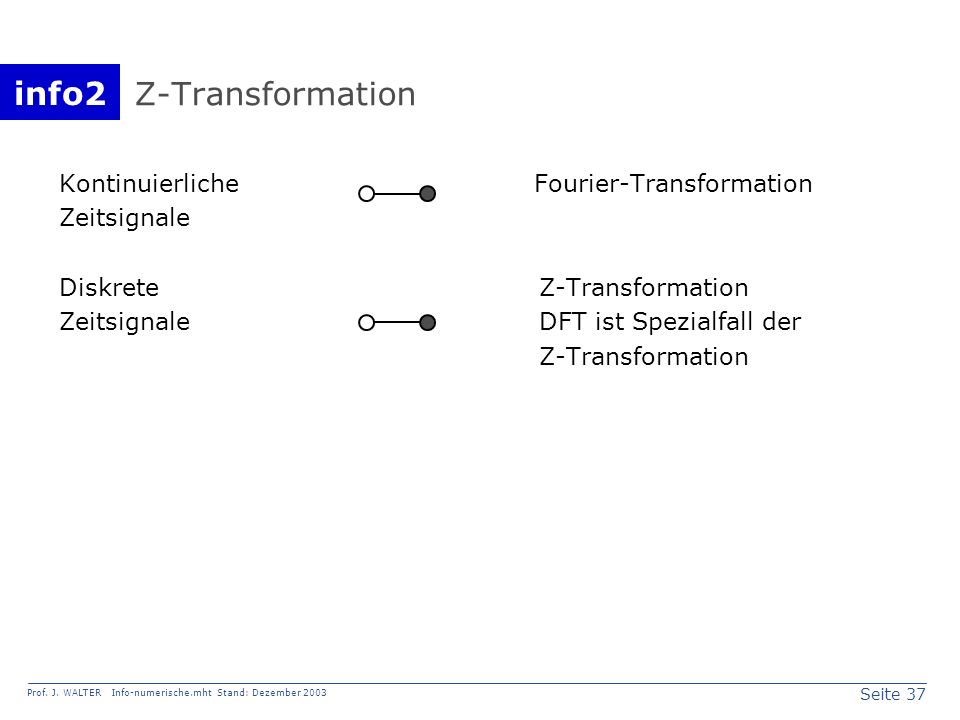 Z-Transformation Kontinuierliche Fourier-Transformation Zeitsignale