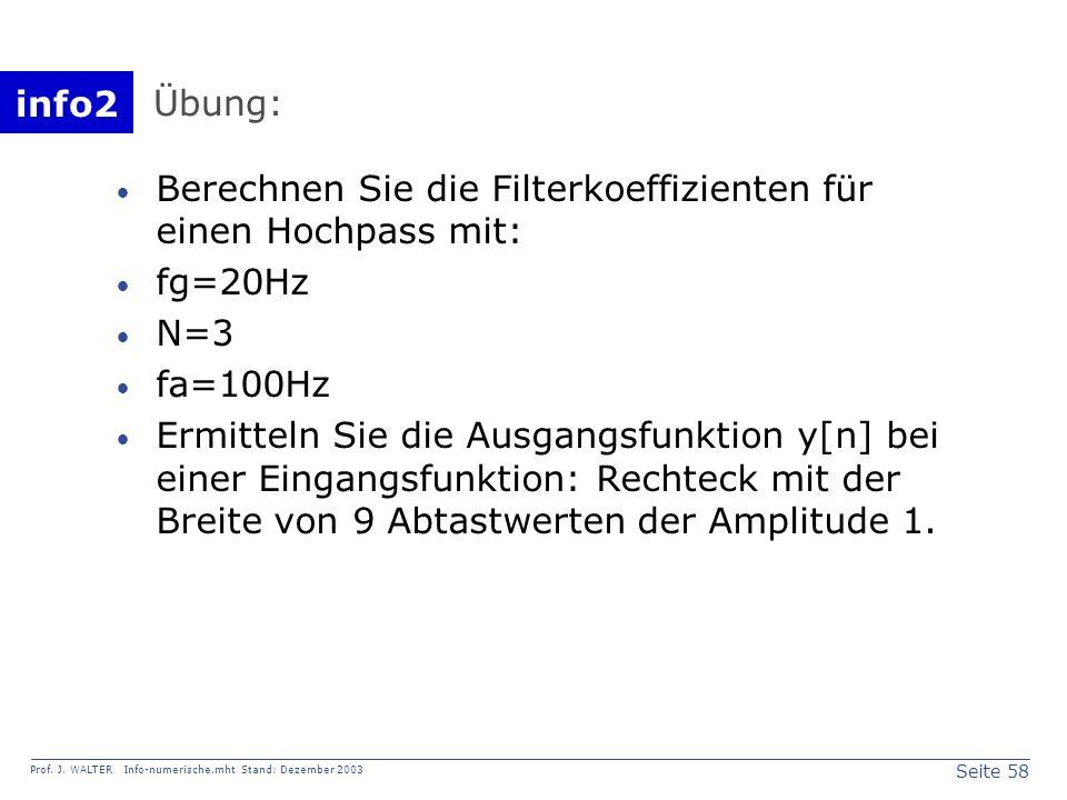Übung: Berechnen Sie die Filterkoeffizienten für einen Hochpass mit: fg=20Hz. N=3. fa=100Hz.
