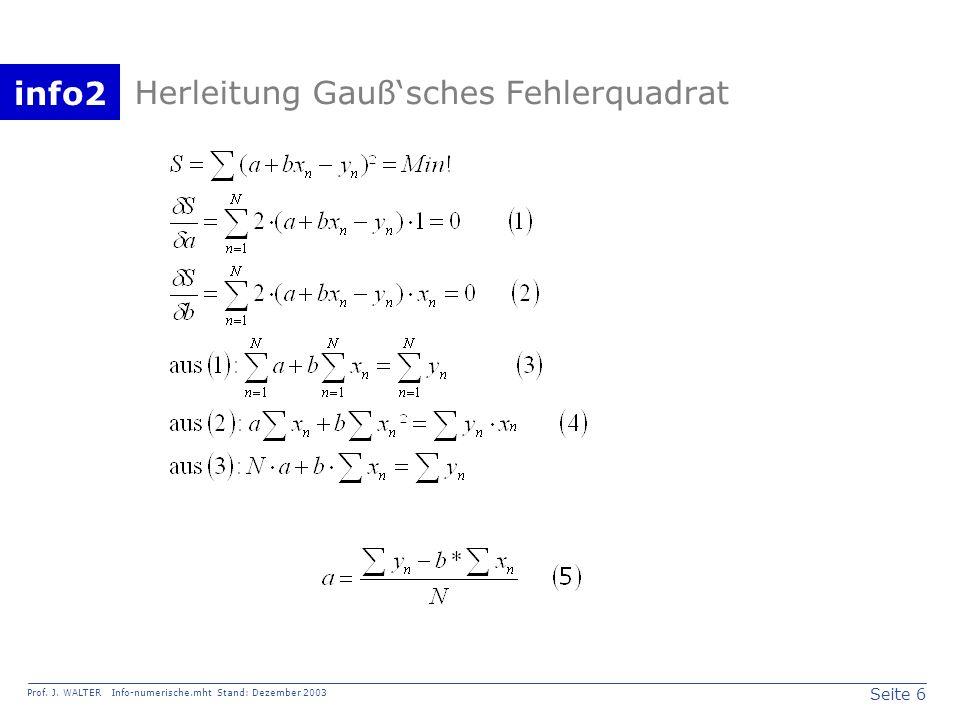 Herleitung Gauß'sches Fehlerquadrat
