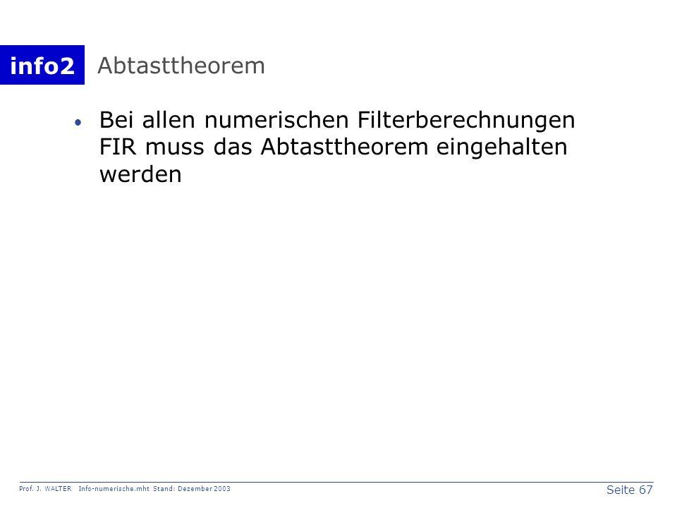 Abtasttheorem Bei allen numerischen Filterberechnungen FIR muss das Abtasttheorem eingehalten werden.
