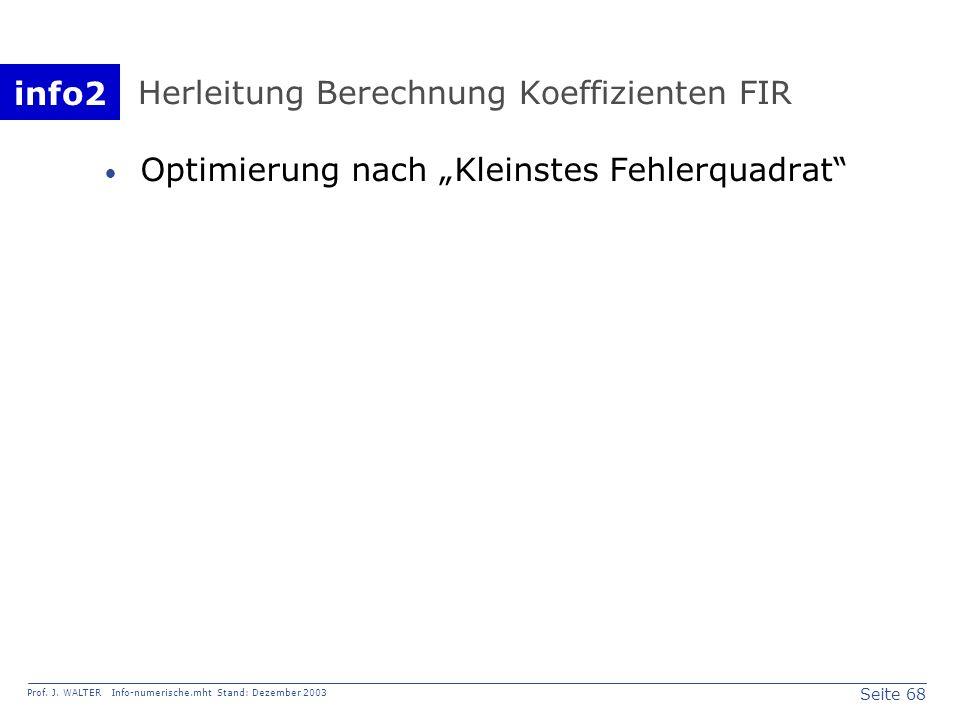 Herleitung Berechnung Koeffizienten FIR