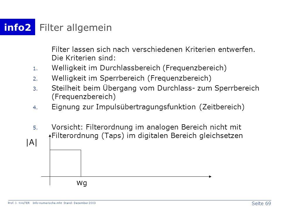 Filter allgemein |A| wg