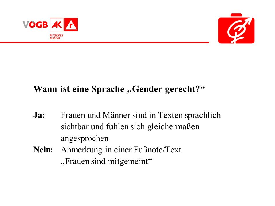 """Wann ist eine Sprache """"Gender gerecht"""