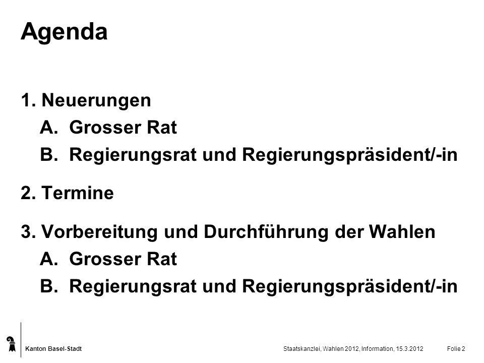 Agenda 1. Neuerungen A. Grosser Rat
