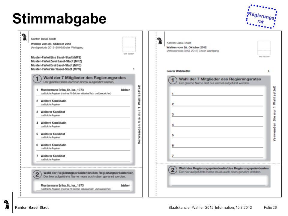 Stimmabgabe Regierungsrat