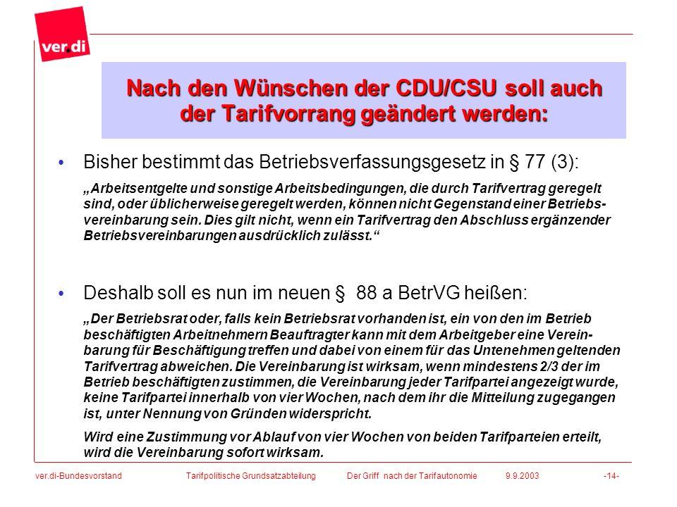 Nach den Wünschen der CDU/CSU soll auch der Tarifvorrang geändert werden: