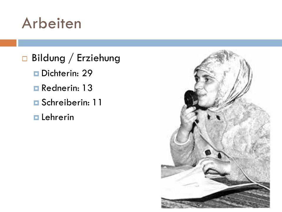 Arbeiten Bildung / Erziehung Dichterin: 29 Rednerin: 13