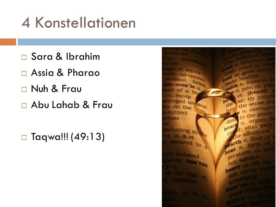 4 Konstellationen Sara & Ibrahim Assia & Pharao Nuh & Frau