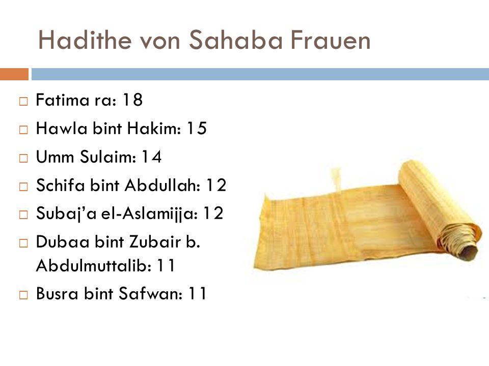Hadithe von Sahaba Frauen