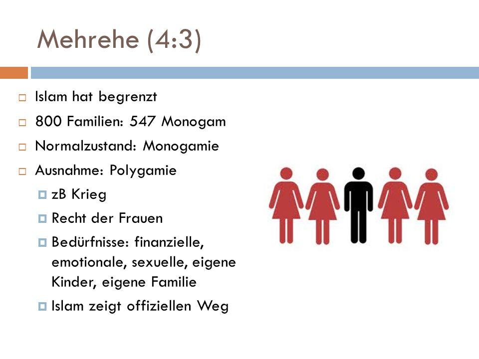 Mehrehe (4:3) Islam hat begrenzt 800 Familien: 547 Monogam