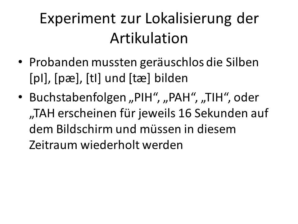 Experiment zur Lokalisierung der Artikulation