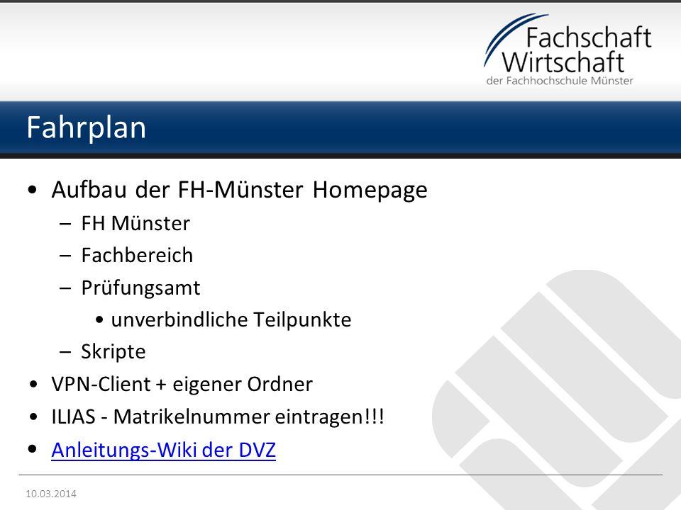 Fahrplan Aufbau der FH-Münster Homepage FH Münster Fachbereich