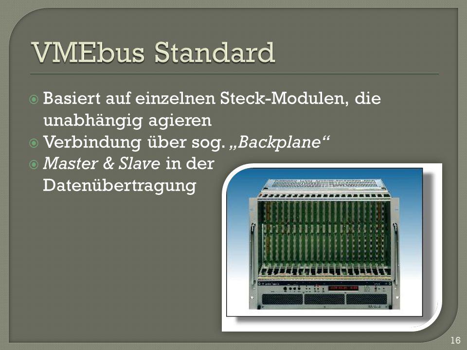 """VMEbus Standard Basiert auf einzelnen Steck-Modulen, die unabhängig agieren. Verbindung über sog. """"Backplane"""