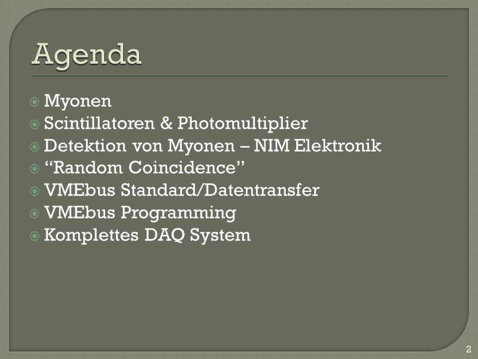 Agenda Myonen Scintillatoren & Photomultiplier