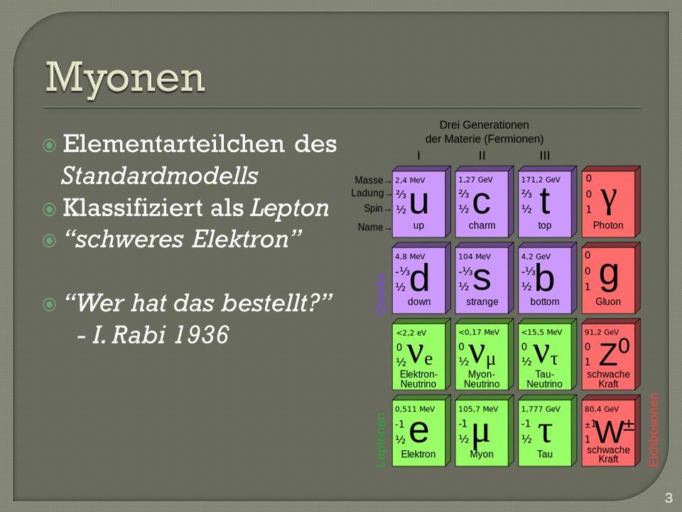 Myonen Elementarteilchen des Standardmodells Klassifiziert als Lepton