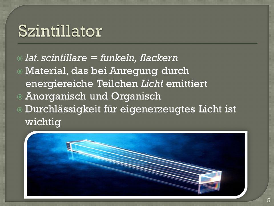 Szintillator lat. scintillare = funkeln, flackern