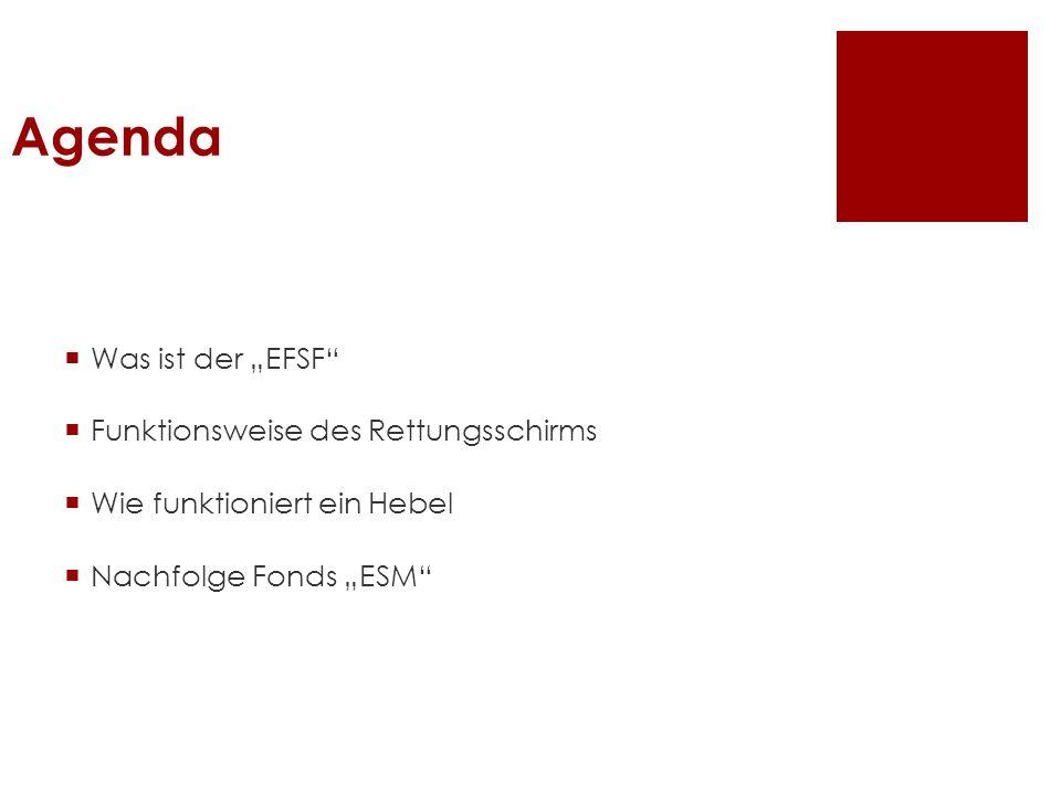 """Agenda Was ist der """"EFSF Funktionsweise des Rettungsschirms"""