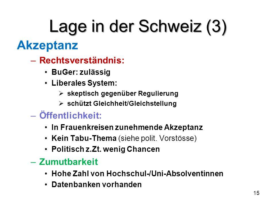 Lage in der Schweiz (3) Akzeptanz Rechtsverständnis: Öffentlichkeit: