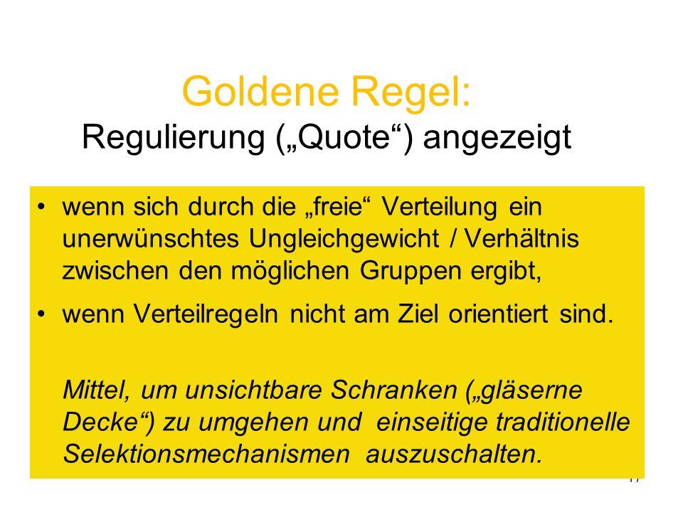 """Goldene Regel: Regulierung (""""Quote ) angezeigt"""