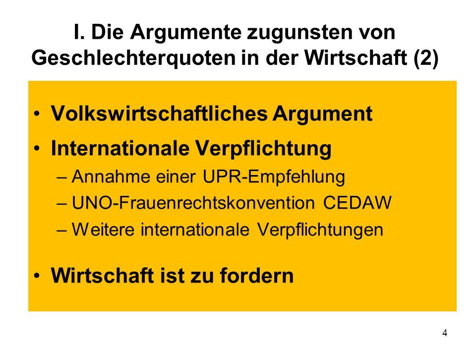 Volkswirtschaftliches Argument Internationale Verpflichtung