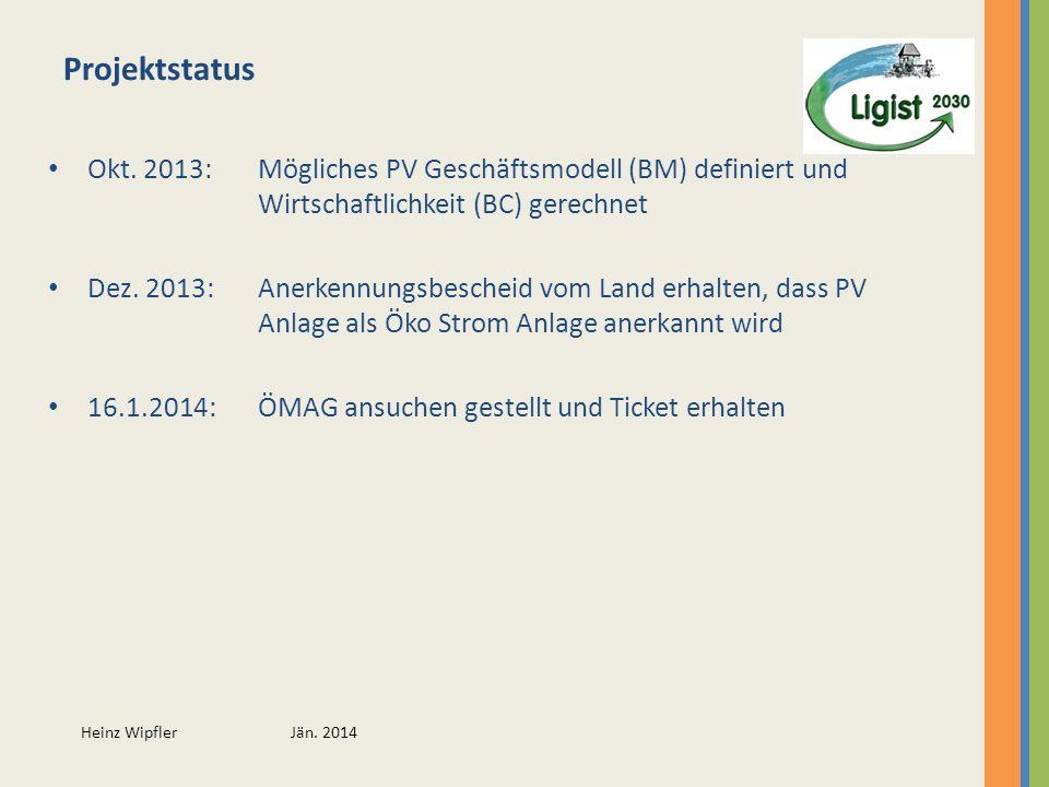 Projektstatus Okt. 2013: Mögliches PV Geschäftsmodell (BM) definiert und Wirtschaftlichkeit (BC) gerechnet.