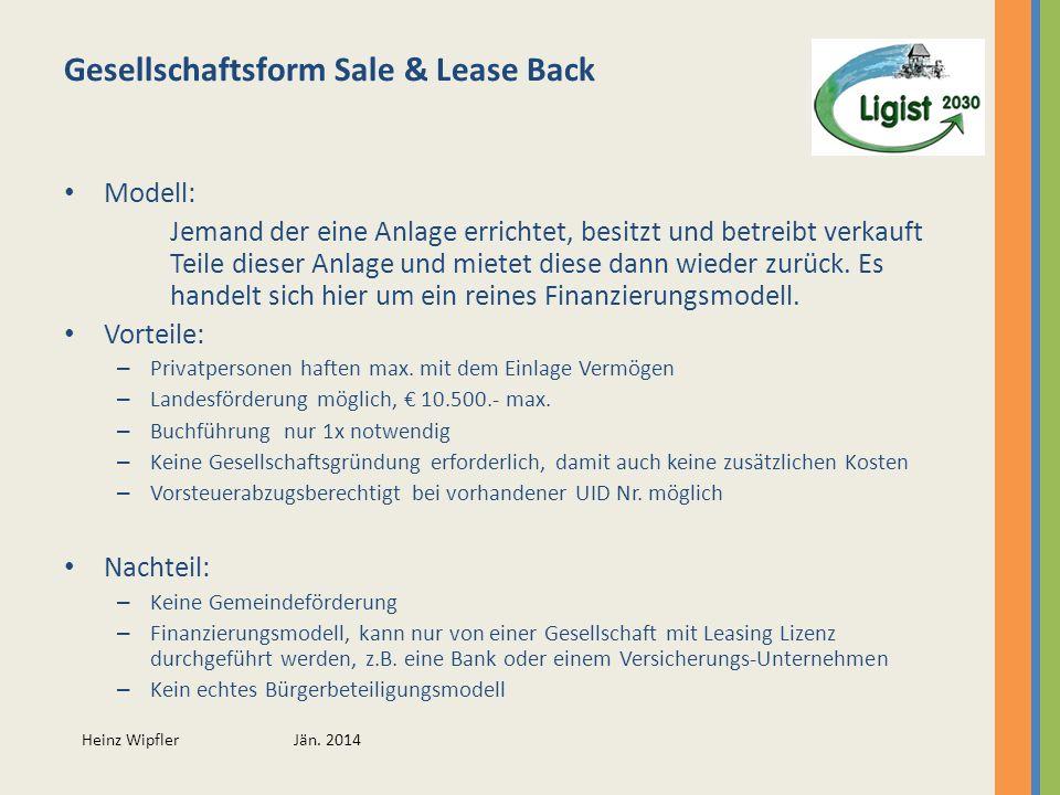 Gesellschaftsform Sale & Lease Back