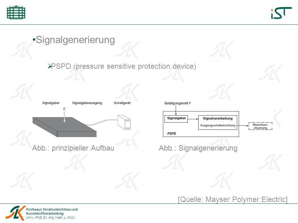 Signalgenerierung PSPD (pressure sensitive protection device)