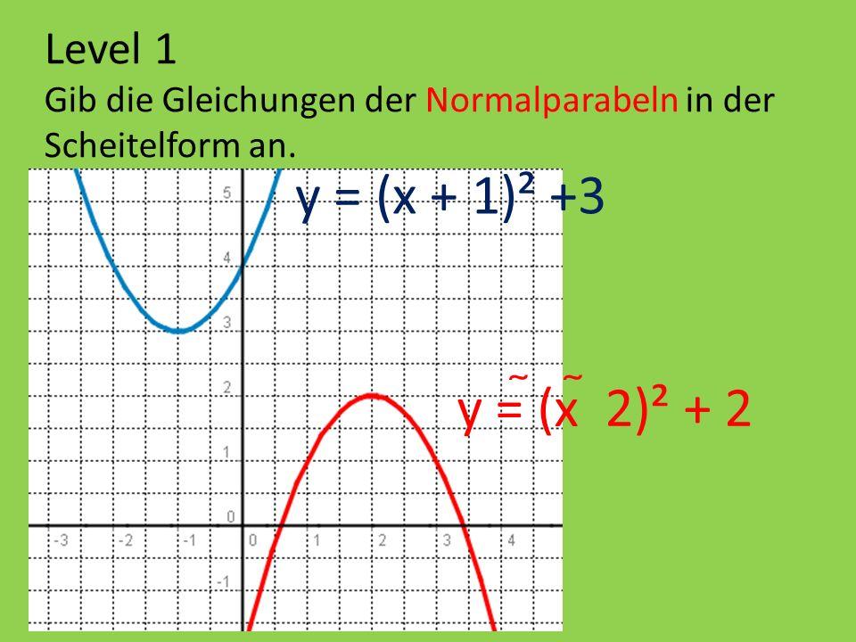 y = (x + 1)² +3 y = (x  2)² + 2 Level 1