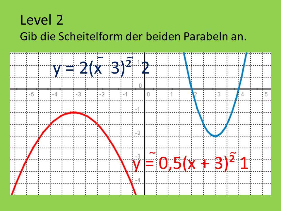y = 2(x  3)²  2 y = 0,5(x + 3)² 1 Level 2