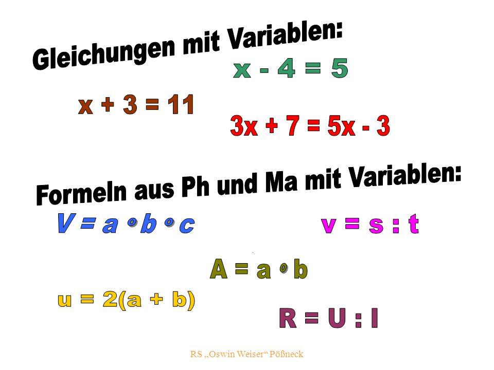 Gleichungen mit Variablen: