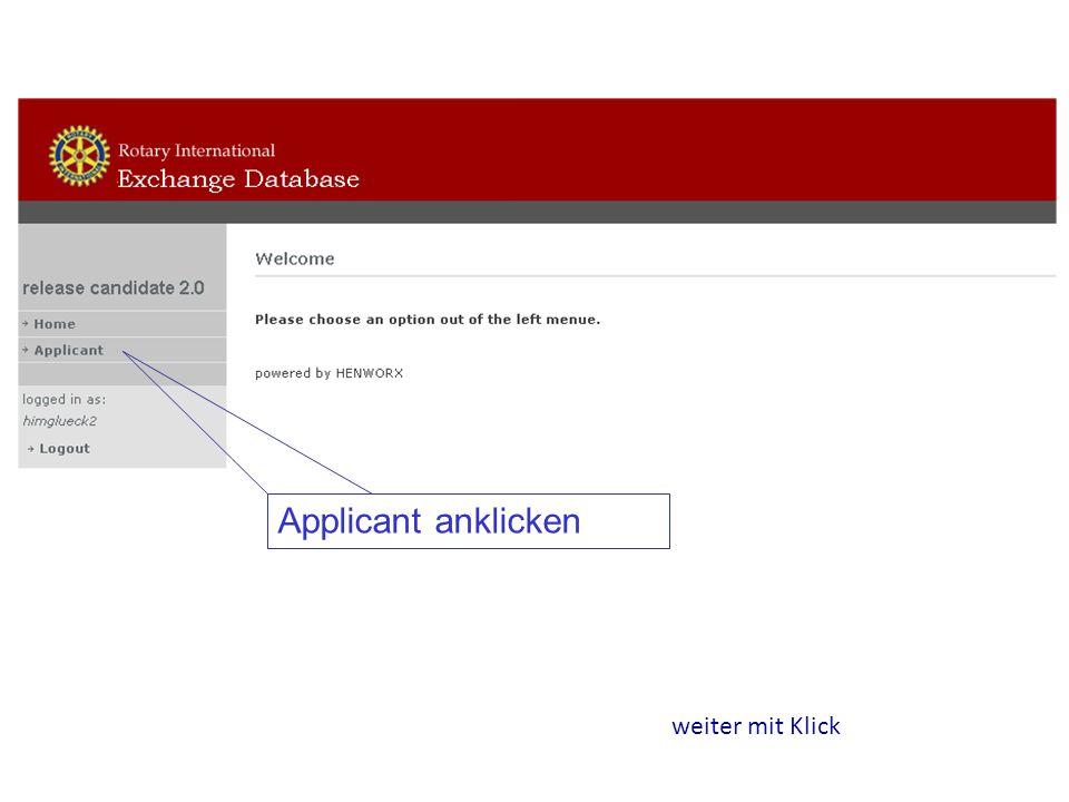 Applicant anklicken weiter mit Klick