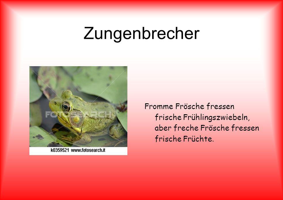 Zungenbrecher Fromme Frösche fressen frische Frühlingszwiebeln, aber freche Frösche fressen frische Früchte.