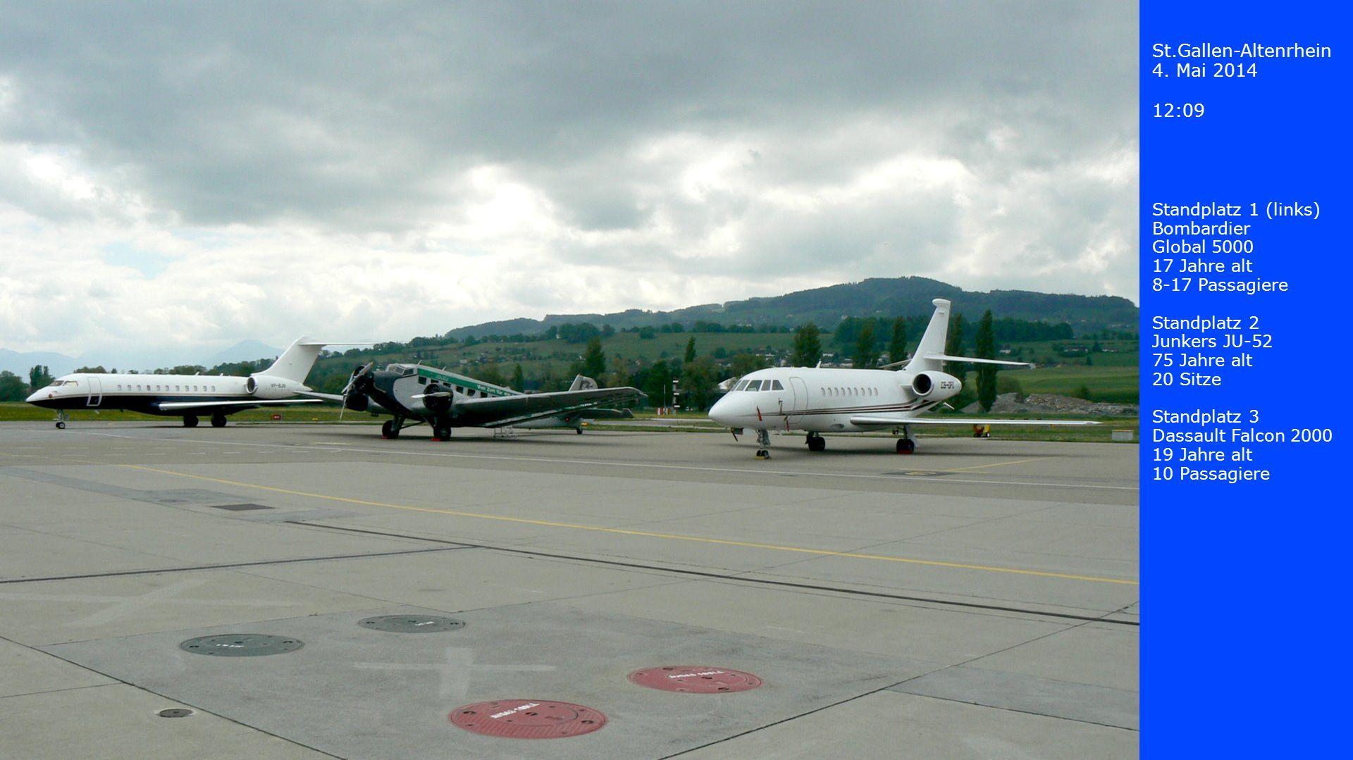 St.Gallen-Altenrhein 4. Mai 2014 12:09 Standplatz 1 (links) Bombardier