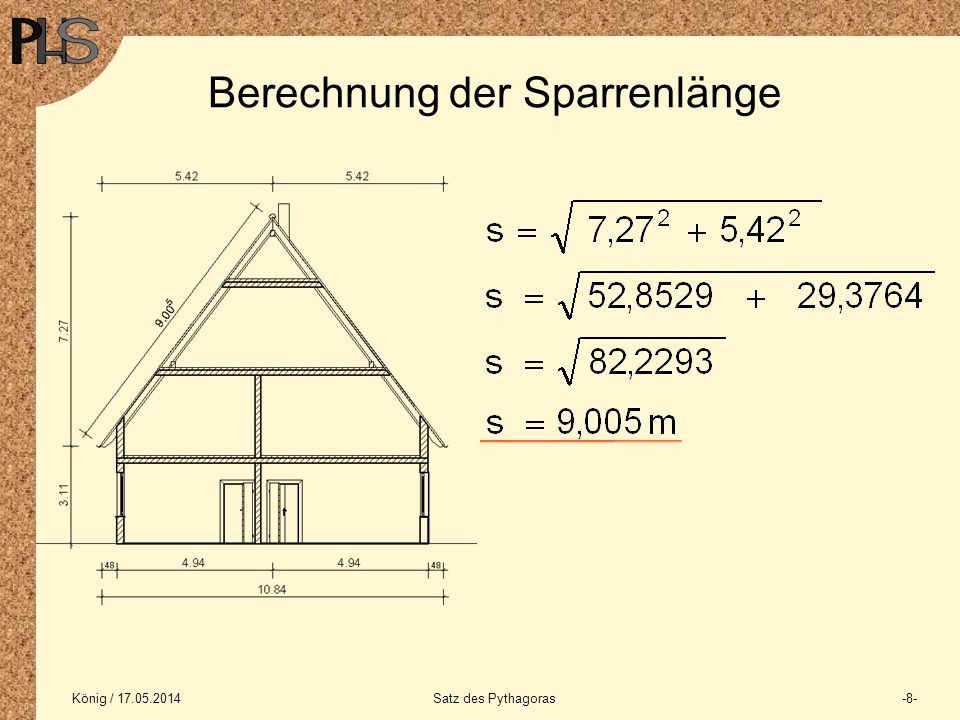 Berechnung der Sparrenlänge