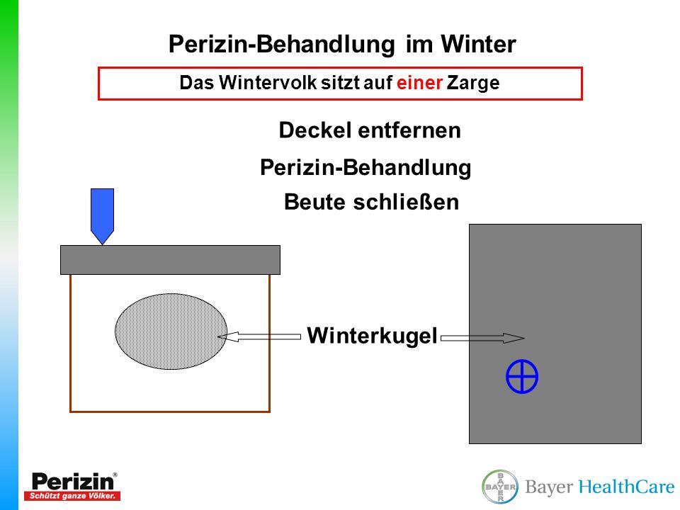 Perizin-Behandlung im Winter Das Wintervolk sitzt auf einer Zarge