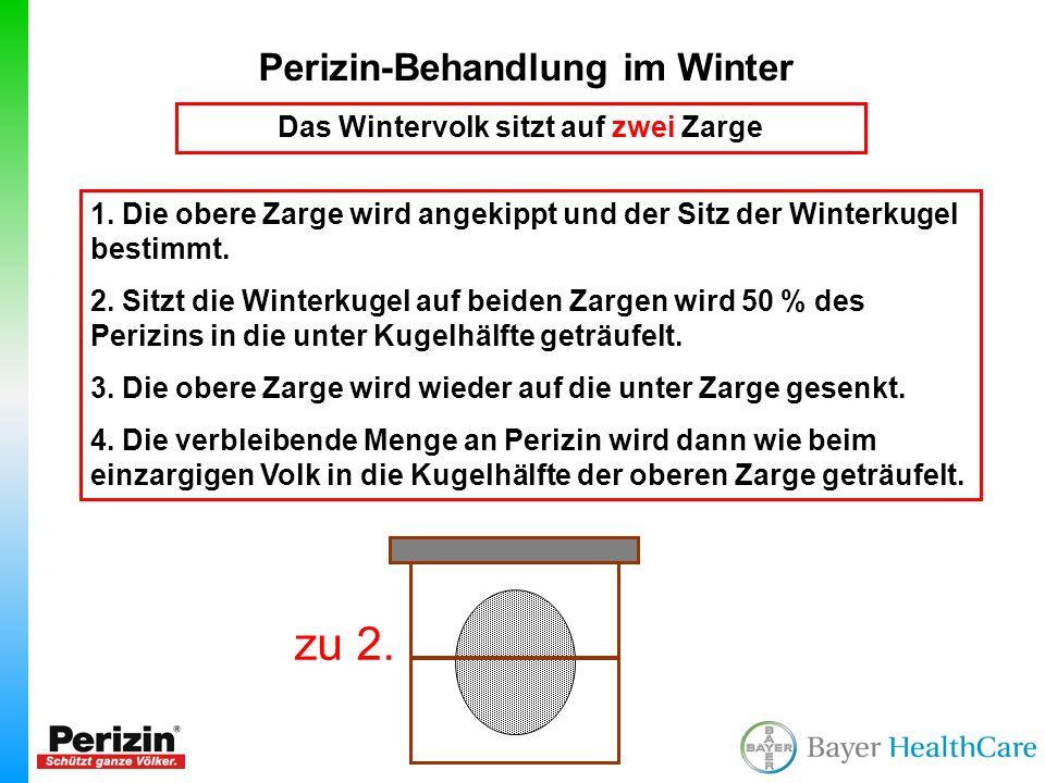 Perizin-Behandlung im Winter Das Wintervolk sitzt auf zwei Zarge