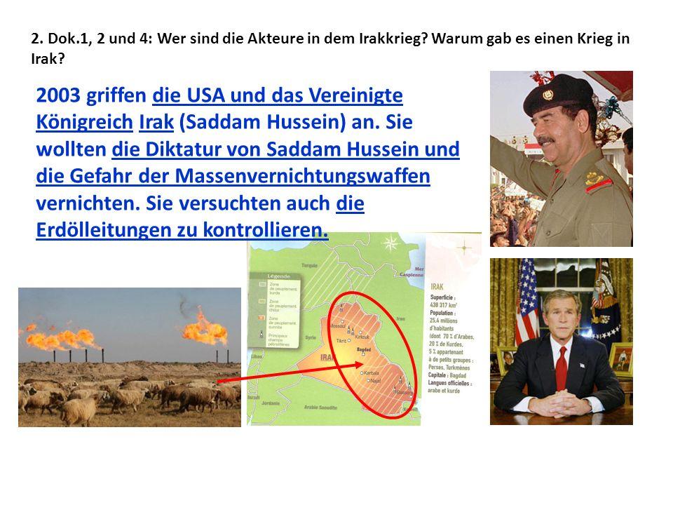 2. Dok. 1, 2 und 4: Wer sind die Akteure in dem Irakkrieg