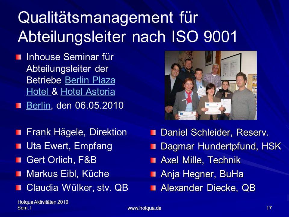 Qualitätsmanagement für Abteilungsleiter nach ISO 9001