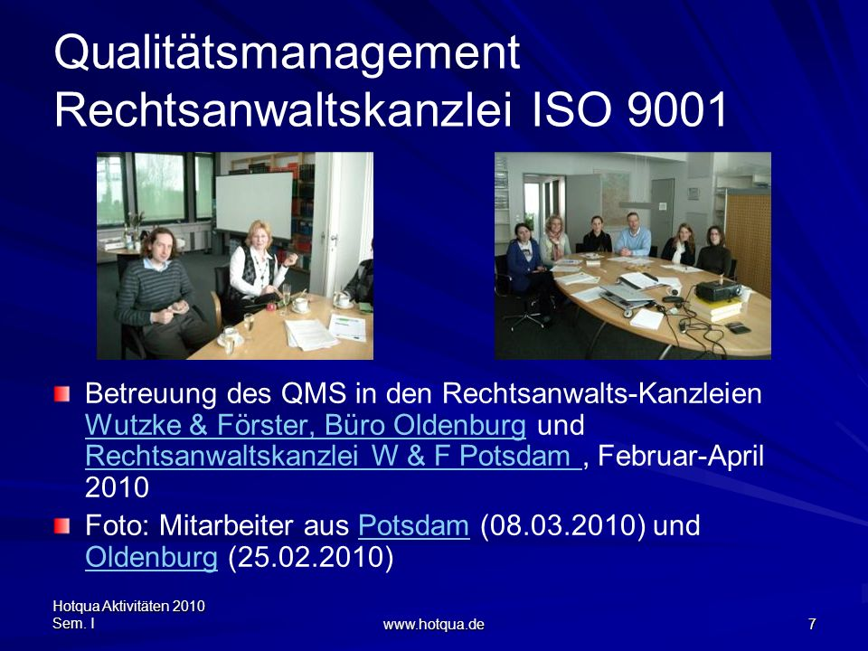 Qualitätsmanagement Rechtsanwaltskanzlei ISO 9001