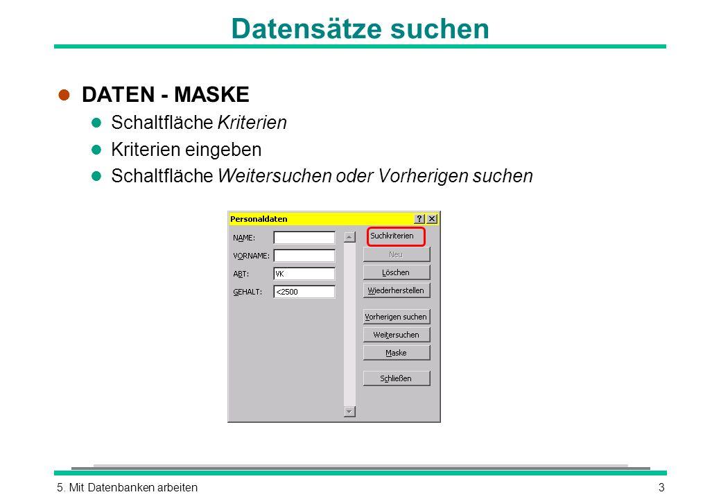 Datensätze suchen DATEN - MASKE Schaltfläche Kriterien