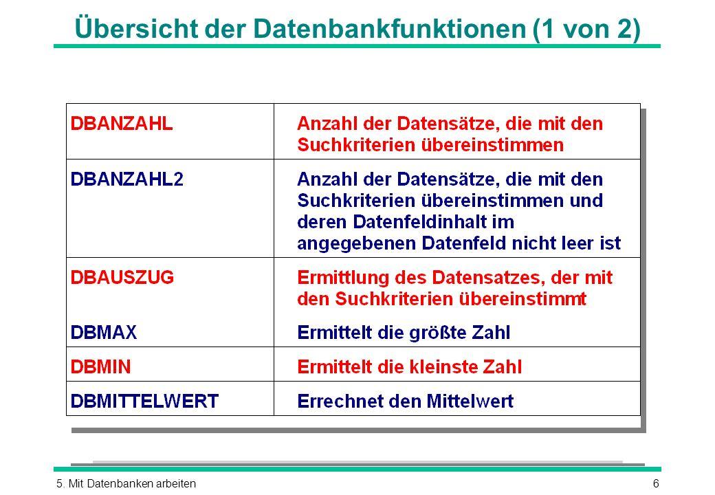 Übersicht der Datenbankfunktionen (1 von 2)