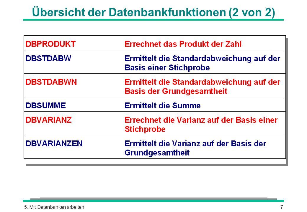 Übersicht der Datenbankfunktionen (2 von 2)