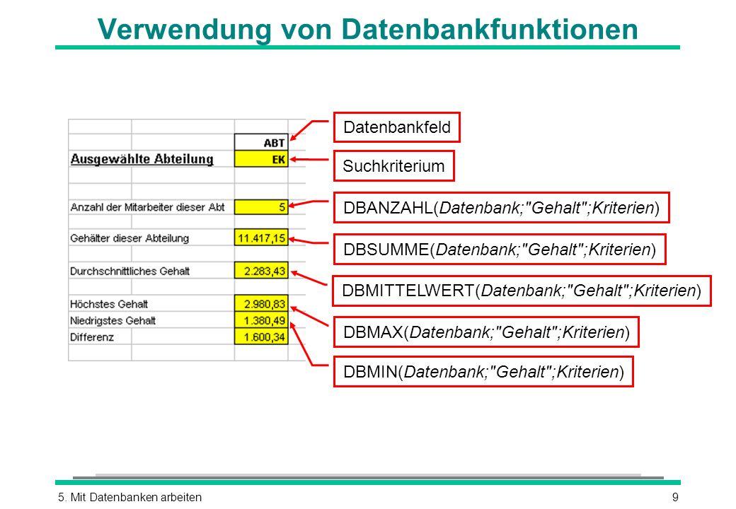 Verwendung von Datenbankfunktionen