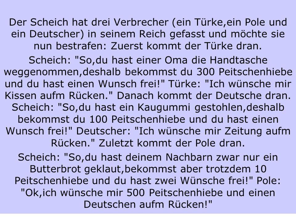 Der Scheich hat drei Verbrecher (ein Türke,ein Pole und ein Deutscher) in seinem Reich gefasst und möchte sie nun bestrafen: Zuerst kommt der Türke dran.