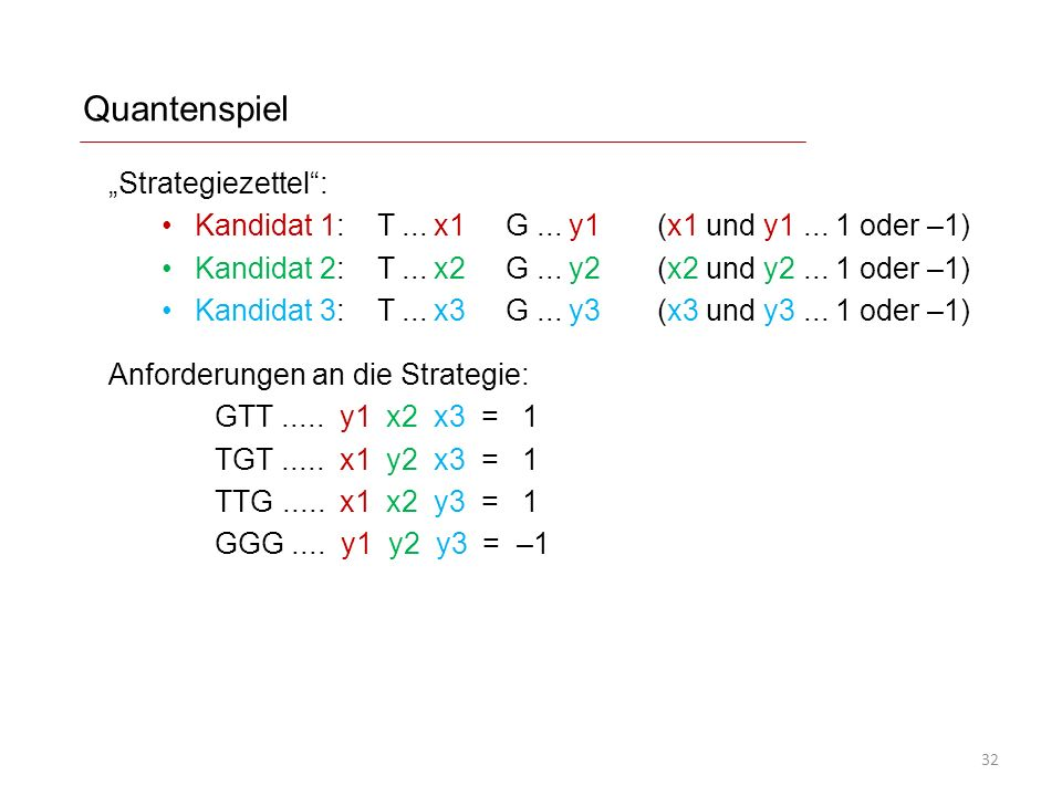 "Quantenspiel ""Strategiezettel :"
