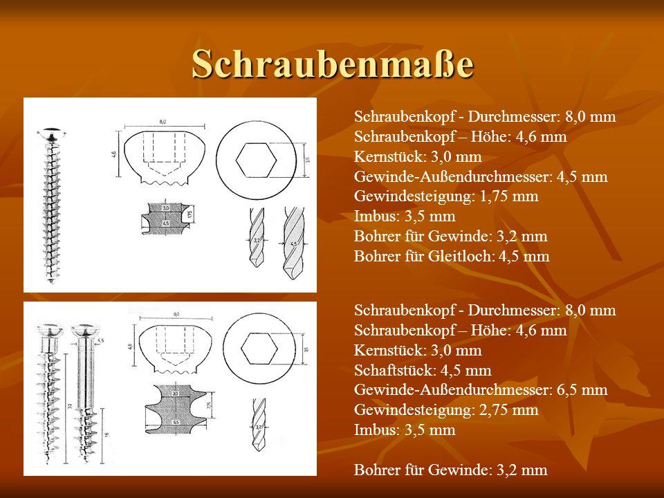 Schraubenmaße Schraubenkopf - Durchmesser: 8,0 mm