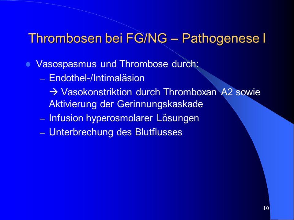 Thrombosen bei FG/NG – Pathogenese I