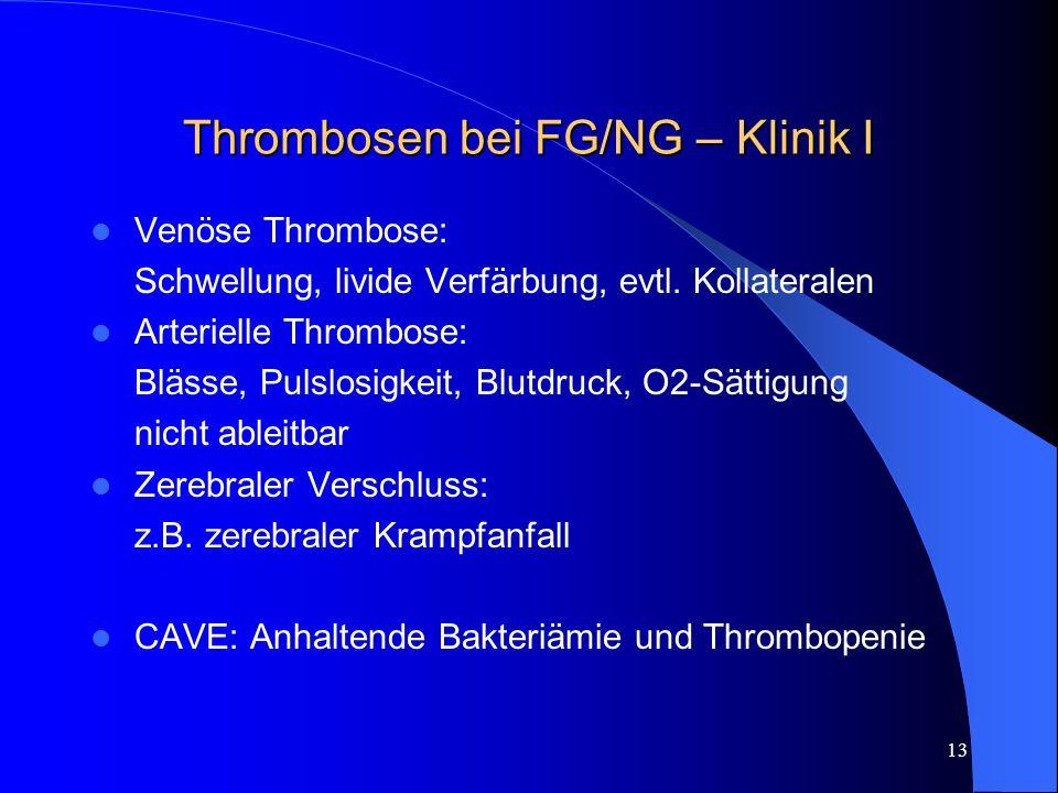 Thrombosen bei FG/NG – Klinik I