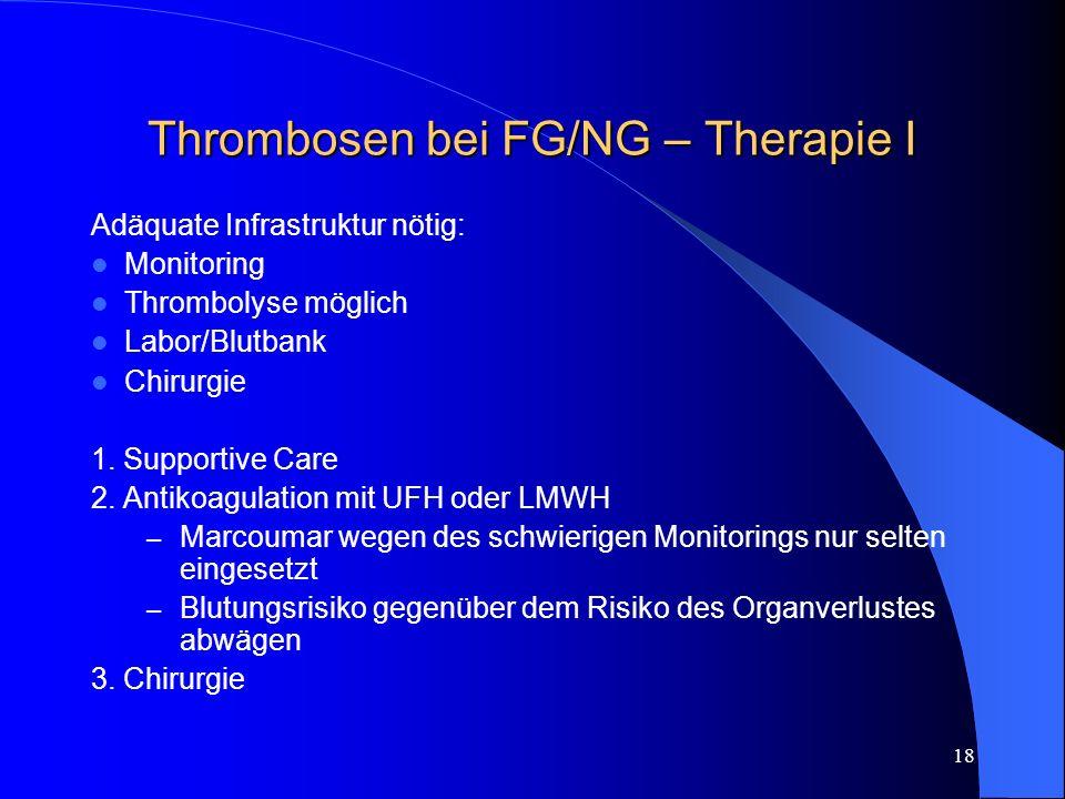 Thrombosen bei FG/NG – Therapie I