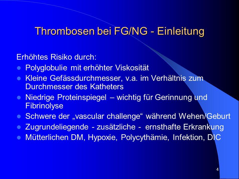 Thrombosen bei FG/NG - Einleitung